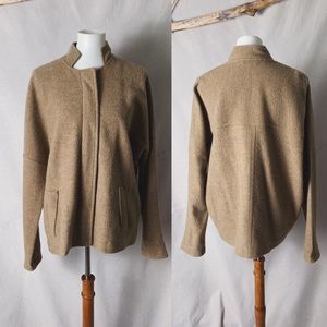 EILEEN FISHER Boiled Wool Stand Up Collar Jacket